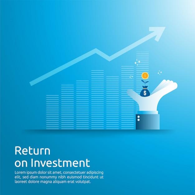 Concepto de retorno de la inversión roi. flechas de crecimiento empresarial para el éxito. bolsa de dinero en dólares en la mano del gran inversor. tabla de aumento de ganancias. financiamiento estiramiento levantándose. Vector Premium