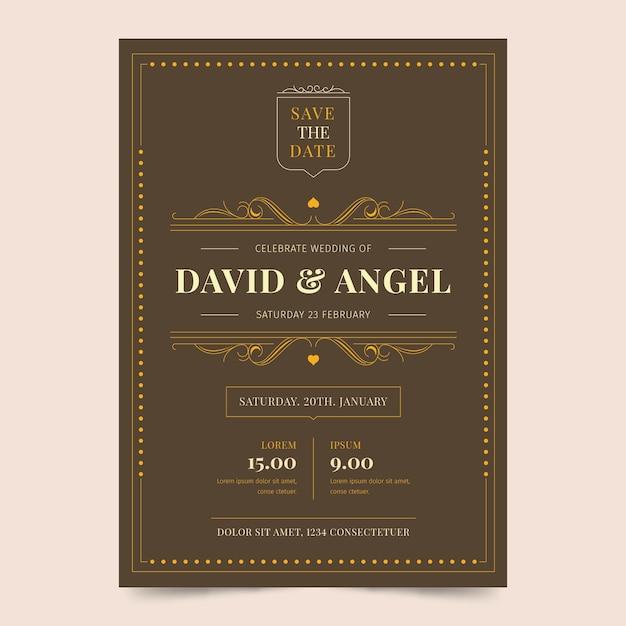 Concepto retro para plantilla de invitación de boda vector gratuito