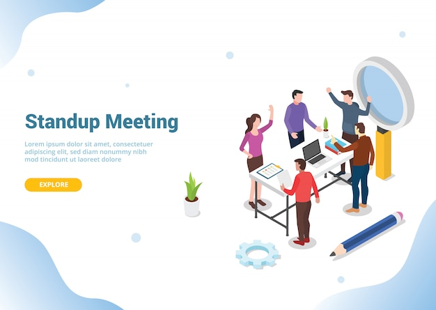 Concepto de reunión isométrica de pie para el sitio web Vector Premium