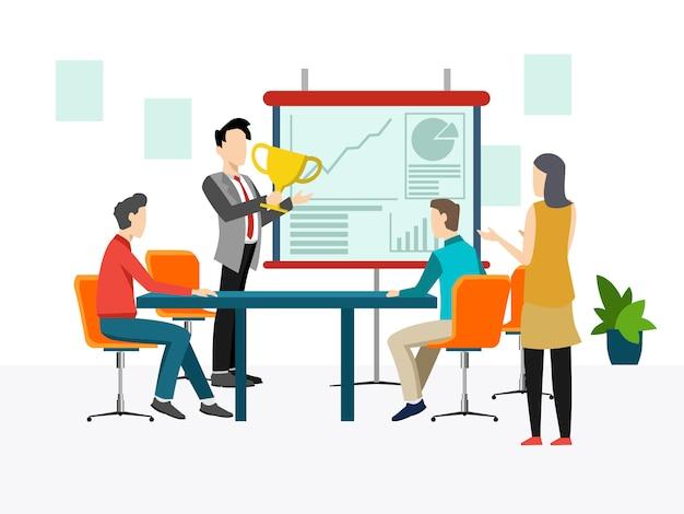 Concepto de reunión de negocios, trabajo en equipo, formación, mejora de la habilidad profesional. Vector Premium