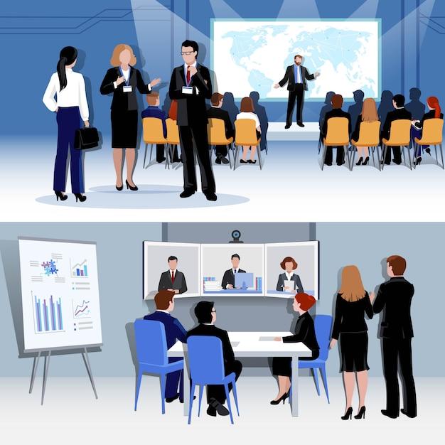 Concepto de reunión de personas con conferencia vector gratuito