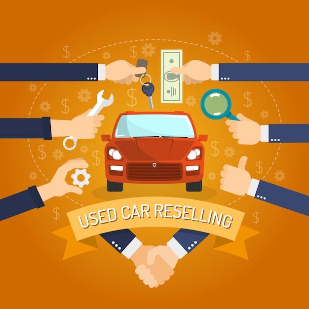 Concepto de reventa de automóviles vector gratuito