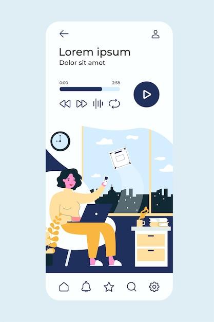 Concepto de robot limpiador. mujer con control remoto, ventana de lavado a máquina. Vector Premium