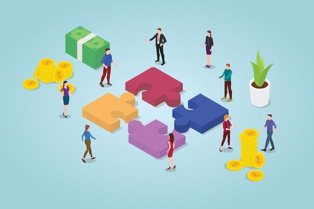 Concepto de rompecabezas de trabajo en equipo con un equipo que trabaja junto con rompecabezas y algunos íconos financieros Vector Premium