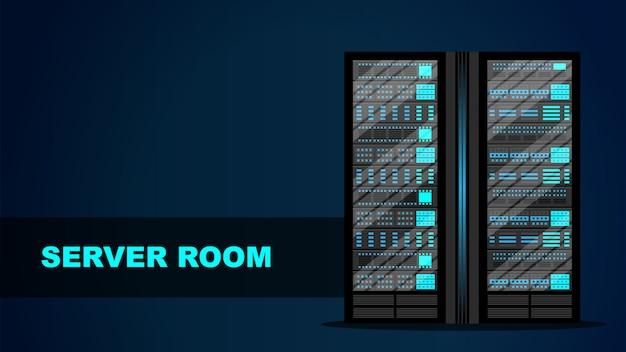 Concepto de sala de servidores Vector Premium