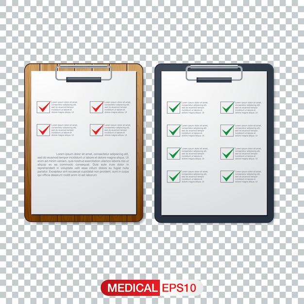 Concepto de salud con la lista de verificación fresca en el portapapeles Vector Premium
