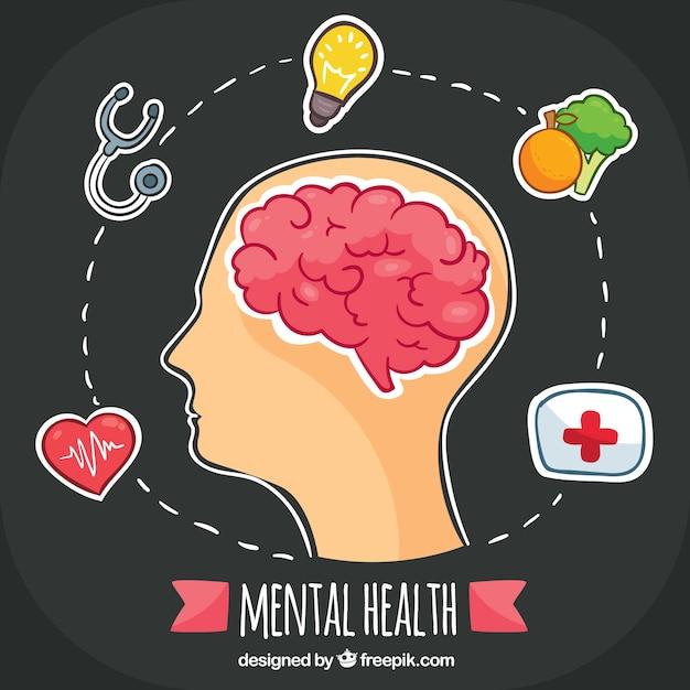 Concepto de salud mental dibujado a mano vector gratuito