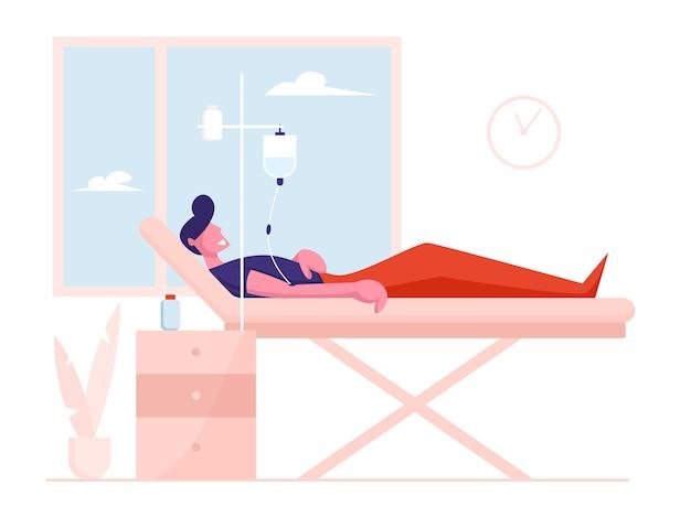 Concepto de salud. paciente herido enfermo acostado en la cama médica con gotero. Vector Premium