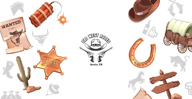 Concepto del salvaje oeste de dibujos animados con cartel de querido dinamita sheriff insignia cactus sombrero de vaquero carro de herradura letrero de madera vector gratuito