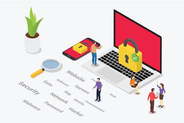 Concepto de seguridad cibernética isométrica con personas del equipo Vector Premium