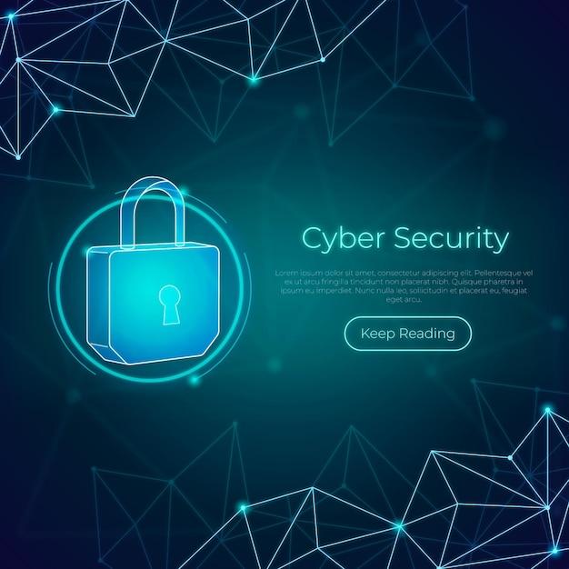 Concepto de seguridad cibernética de neón con candado Vector Premium