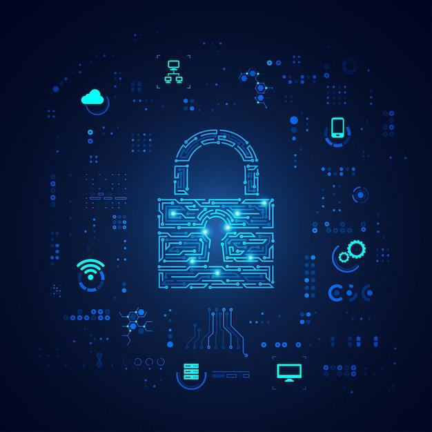 Concepto de seguridad cibernética, teclado en patrón electrónico con elemento de tecnología digital Vector Premium