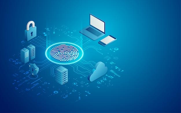 Concepto de seguridad cibernética Vector Premium