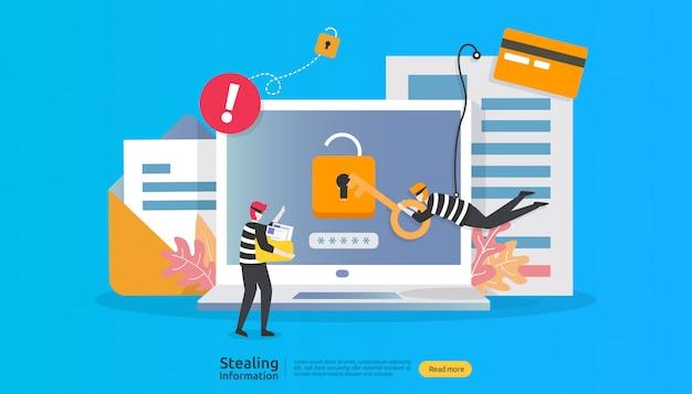 Concepto de seguridad de internet con carácter de personas. ataque de phishing de contraseña. robar información personal de datos web Vector Premium