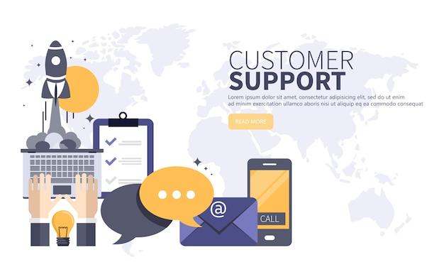 Concepto de servicio de atención al cliente de negocios Vector Premium