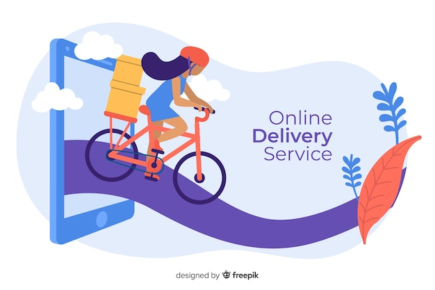 Concepto de servicio de entrega en línea para la página de destino vector gratuito