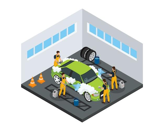 Concepto de servicio de lavado de autos isométrico con trabajadores que lavan automóviles con esponjas y herramientas especiales en el garaje aislado vector gratuito