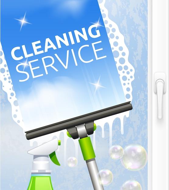 Concepto de servicio de limpieza de cristales. vector gratuito