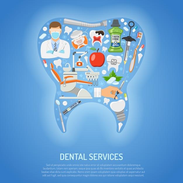 Concepto de servicios dentales Vector Premium