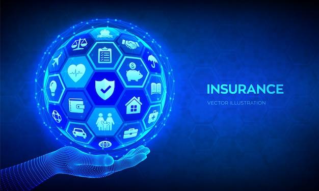 Concepto de servicios de seguros. esfera 3d abstracto o globo con iconos en mano. vector gratuito
