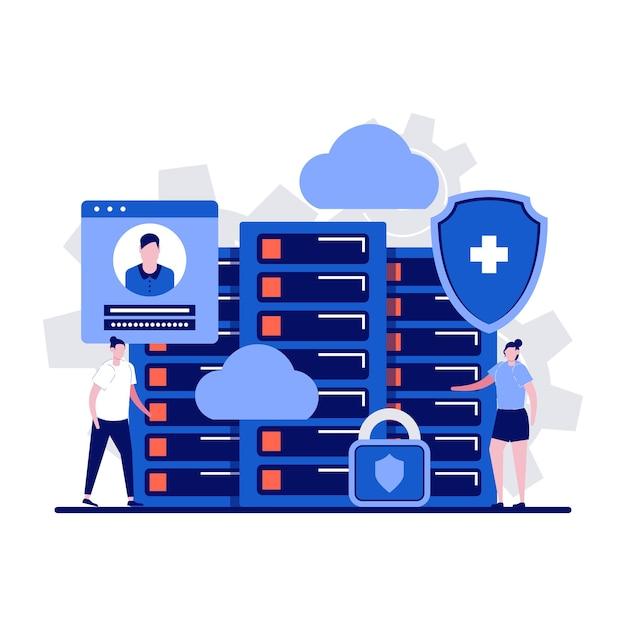 Concepto de servidor de datos con carácter. almacenamiento de información informática, equipo de hardware. Vector Premium