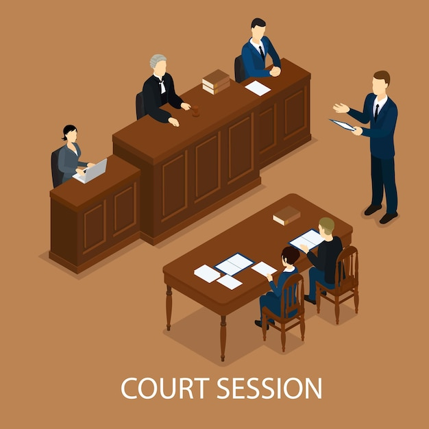 Concepto de sesión judicial isométrica vector gratuito