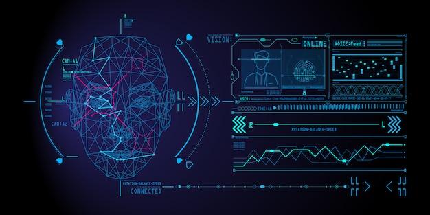 Concepto de sistema de reconocimiento facial con escaneo de rostro humano de polígono bajo. Vector Premium