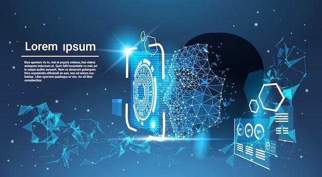 Concepto de sistema de reconocimiento de rostros polígono bajo cara humana escaneado fondo de plantilla azul con copia s Vector Premium