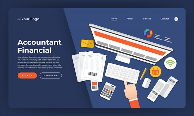 Concepto de sitio web contable financiero. ilustración. Vector Premium