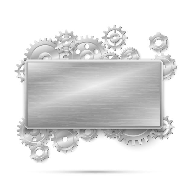 Concepto de steampunk mecánico. marco con engranajes de metal. mecanismo de diseño de máquinas de acero, mecánico industrial. vector gratuito