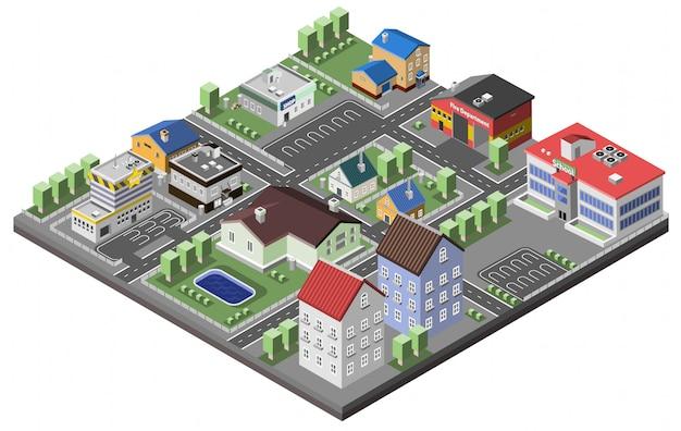 Concepto suburbano isométrico vector gratuito