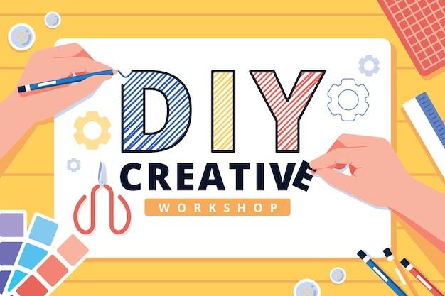Concepto de taller creativo de bricolaje vector gratuito