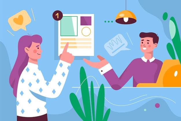Concepto de tarea y hablar con compañeros de trabajo vector gratuito