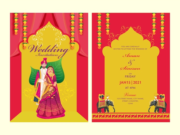 Concepto de tarjeta de invitación de boda Vector Premium