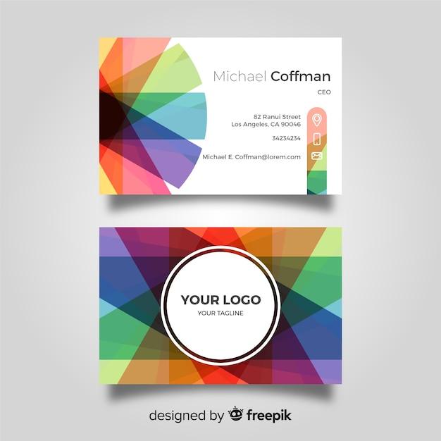 Concepto de tarjeta de visita colorida vector gratuito