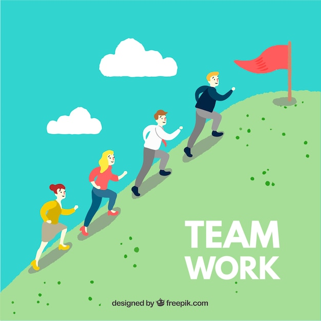 Concepto de teamwork con personas subiendo colina vector gratuito