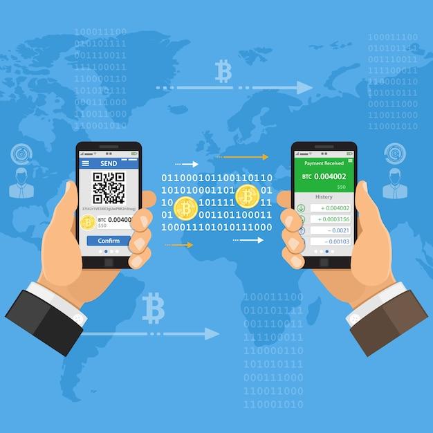 Concepto de tecnología de bitcoin de moneda crypto Vector Premium