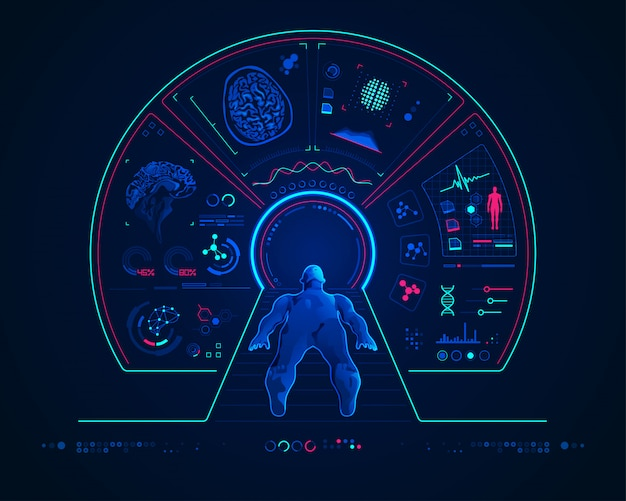 Concepto de tecnología médica con resonancia magnética. Vector Premium