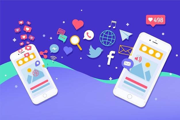 Concepto de teléfono móvil de marketing en redes sociales con logotipos de aplicaciones vector gratuito