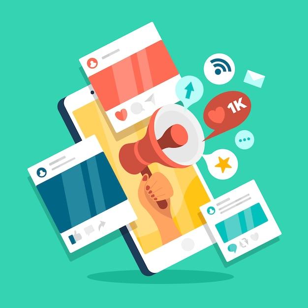 Concepto de teléfono móvil de marketing en redes sociales Vector Premium