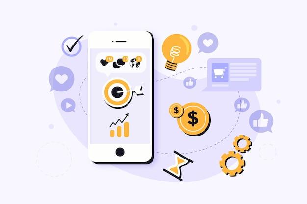 Concepto de teléfono móvil de marketing en redes sociales vector gratuito