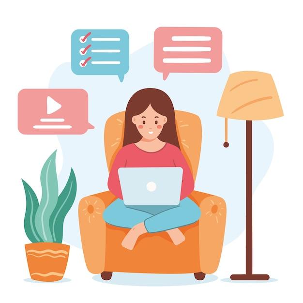 Concepto de teletrabajo con mujer en sillón vector gratuito