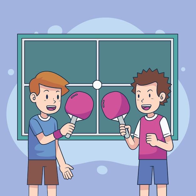 Concepto de tenis de mesa con dos jugadores. vector gratuito