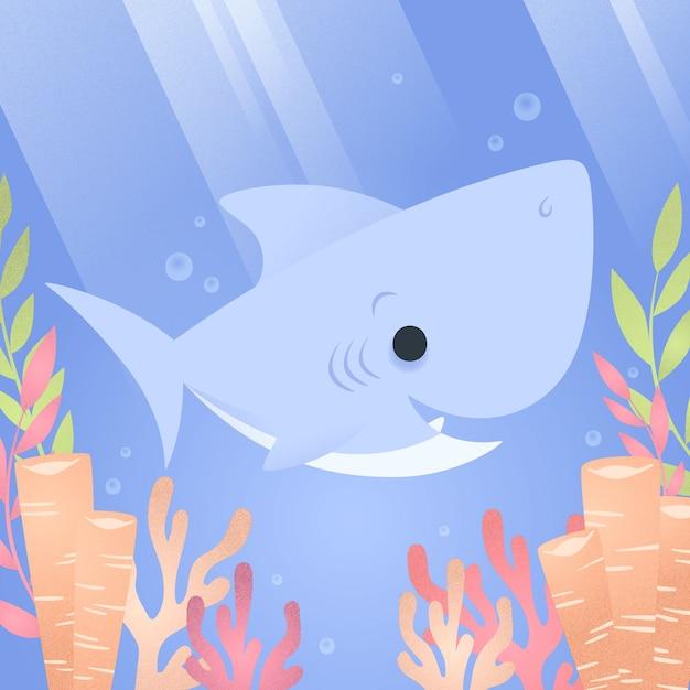 Concepto de tiburón bebé plano vector gratuito