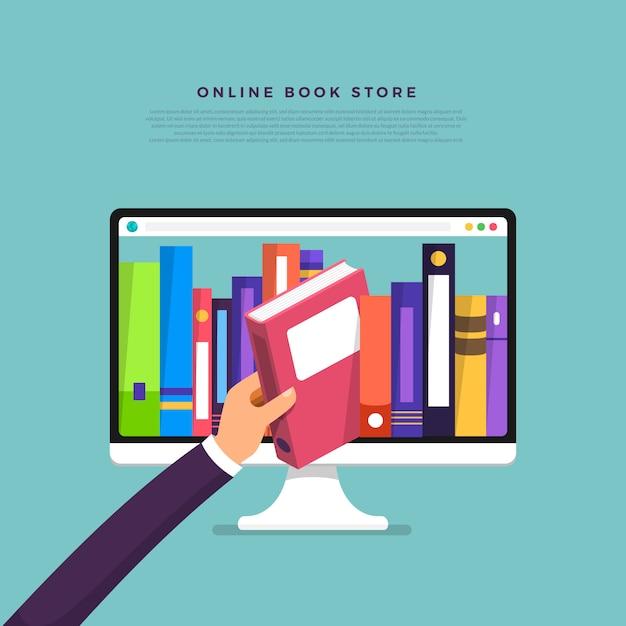 Concepto de tienda de libros online. libro de selección manual desde el dispositivo de internet. ilustrar. Vector Premium