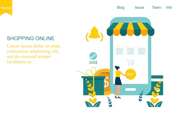 Concepto de tienda en línea de diseño plano Vector Premium