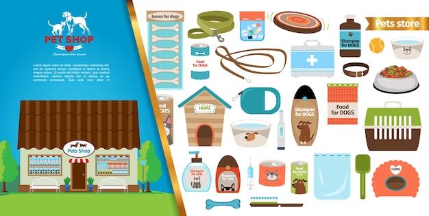 Concepto de tienda de mascotas plana vector gratuito