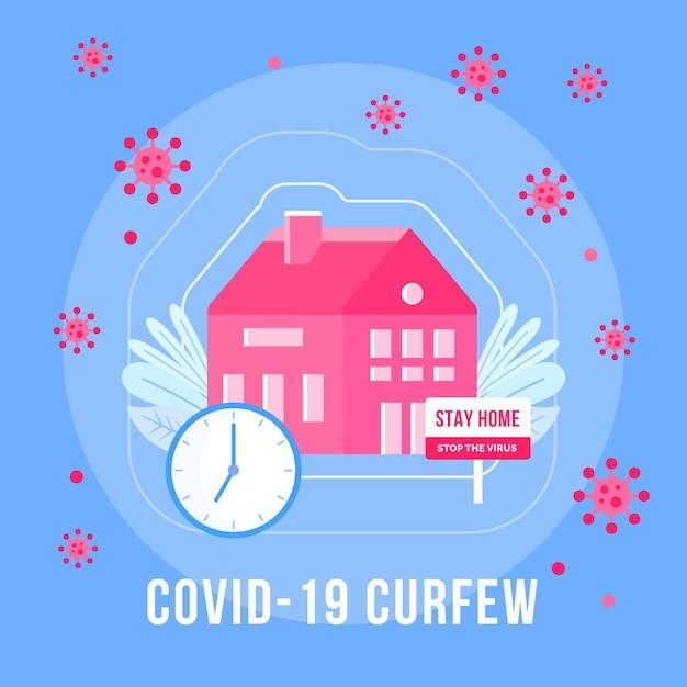 Concepto de toque de queda de coronavirus con mensaje de quedarse en casa vector gratuito