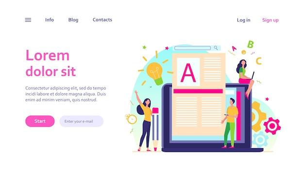 Concepto de trabajo de autor o escritor de contenido. bloguero autónomo en una computadora portátil escribiendo artículos creativos, editando texto. vector gratuito