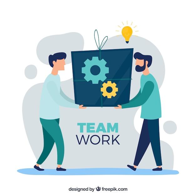 Concepto de trabajo en equipo con diseño plano vector gratuito